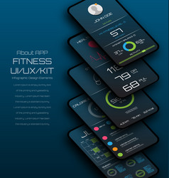 different ui ux gui screens fitness app mock up vector image