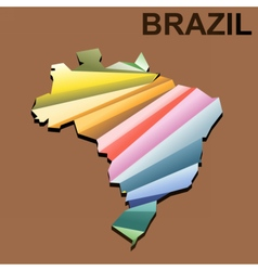 Digital brazil map with abstract colored vector image