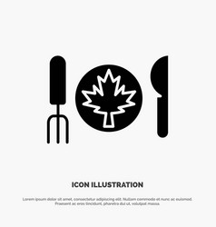 Dinner autumn canada leaf solid glyph icon vector