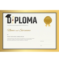Diploma certificate template in in gold theme vector image