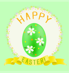 Easter green painted egg and golden ribbon vector