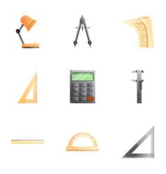 Engineer equipment icon set cartoon style vector