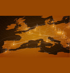 Europe orange map big data vector