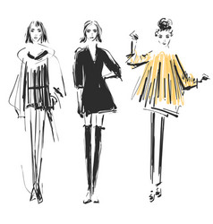 Fashion models sketch cartoon girl doodles vector