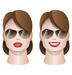 Female faces with sunglasses vector