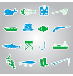 Fishing stickers set eps10 vector