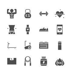 fitness related in glyph icon set vector image