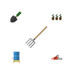 Flat icon garden set of trowel flowerpot hay vector