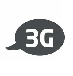 Flat icon with a bubble and a message 3g vector
