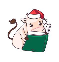 funny cartoon cow 2021 year symbol reading book vector image