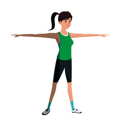 girl sportive training open arms design graphic vector image