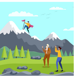 Goal achievement and team support metaphor card vector