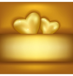 Golden stylish festive background with two hearts vector image