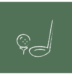 Golf ball and putter icon drawn in chalk vector