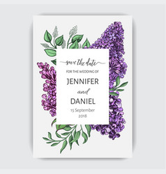 Hand drawn invitation for the wedding card vector