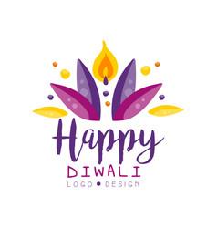 Happy diwali logo design template hindu festival vector