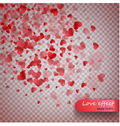 heart confetti of valentines petals falling on vector image