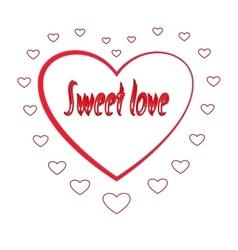 Heart in silhouette heart card vector
