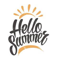 hello summer vintage emblem vector image