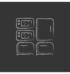 Household appliances Drawn in chalk icon vector image
