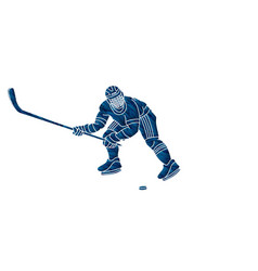 ice hockey sport player cartoon action graphic vector image