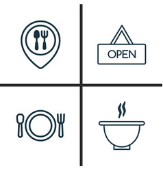 Icons set collection of cutlery food mapping vector