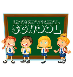 International school sign with students in uniform vector