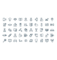 internet things line icons set vector image