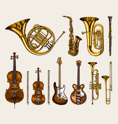 jazz classical wind instruments set musical vector image