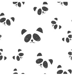 Line art graphic black and white panda head vector