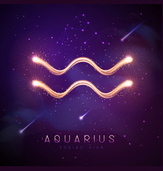 Magic witchcraft card with aquarius zodiac sign vector