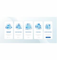 Mentoring peers onboarding mobile app page screen vector