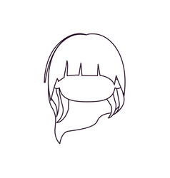 Monochrome silhouette of faceless head of little vector