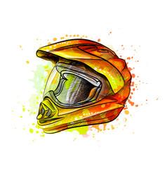 motorcycle helmet from a splash watercolor vector image