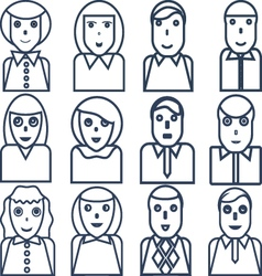 Outlined portraits of office workers vector