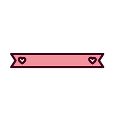 pink ribbon hearts love decoration ornament icon vector image