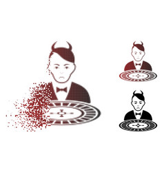 Pitiful damaged pixel halftone devil roulette vector