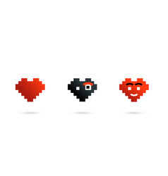 pixel heart character set isolated with shadow vector image