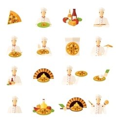 Pizza Makers Flat Icons Set vector