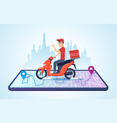 pizza motorbike delivery urban landscape with vector image