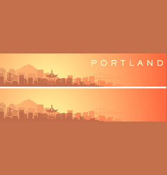 Portland beautiful skyline scenery banner vector