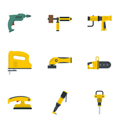 Power tool icon set flat style vector