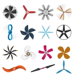 Propeller fan icons set vector