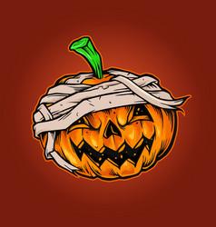 pumpkins halloween mascot horror vector image