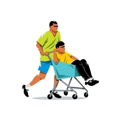 Riding supermarket shopping cart Cartoon vector image