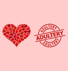Rubber adultery stamp and red lovely love heart vector