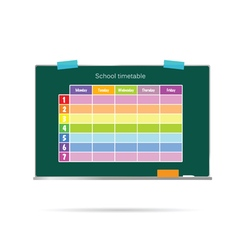 School timetable on green board vector