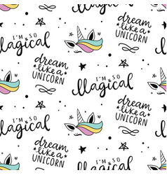 seamless unicorn pattern magical background vector image