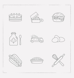 set of bakery icons line style symbols with apple vector image