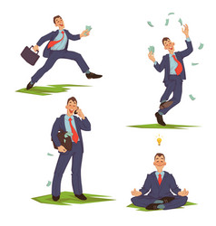 Set of businessman in suit vector